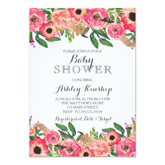 Carte Le rose fleurit l'invitation de baby shower