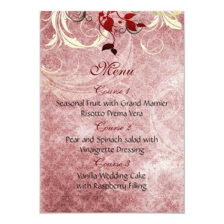 Carte le rouge laisse le menu de mariage d'hiver