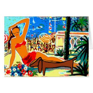 Carte Le teckel sur la plage