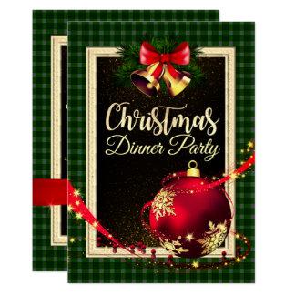 Carte Le vert a vérifié l'invitation de dîner de Noël