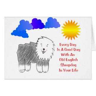 Carte Le vieux chien de berger anglais chaque jour est