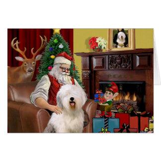 Carte Le vieux chien de berger anglais de Père Noël