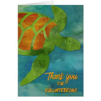 Carte Le volontaire remercie la tortue de mer ou le