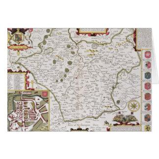 Carte Leicester, gravé par Jodocus Hondius