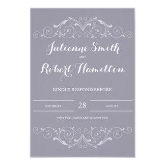 Carte l'épousant grise lilas grande du Soiree | Carton D'invitation 8,89 Cm X 12,70 Cm