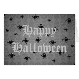 Carte Les araignées de Halloween sur le gris se sont