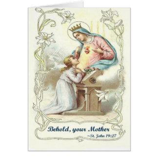 """Carte Les articles bénis de Vierge Marie """"voyez votre"""