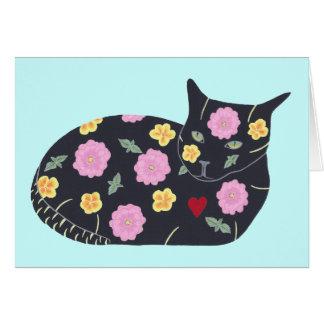 Carte Les chats d'usines de fleurs de chat noir peuvent