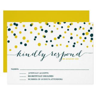 Carte Les confettis turquoises et jaunes pointillent