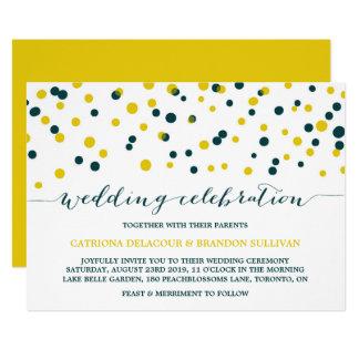 Carte Les confettis turquoises et jaunes pointillent le