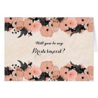 Carte Les fleurs de rose saumoné vous veulent soient ma