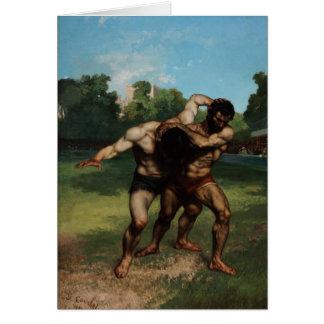 Carte Les lutteurs par Gustave Courbet 1862