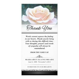 Carte Les mots funèbres de rose blanc de Merci ne