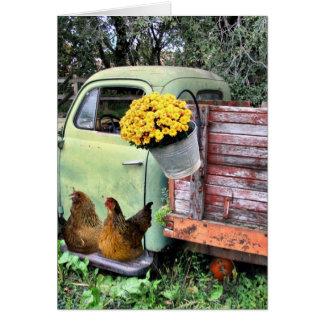 Carte Les poulets et vieux prennent le camion