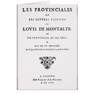 Carte Les Provinciales par Blaise Pascal
