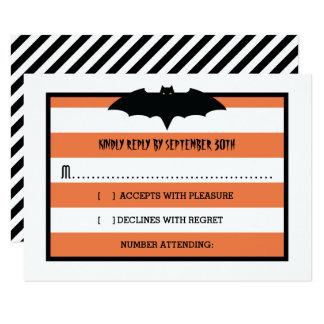 Carte Les rayures et manient la batte   Halloween orange