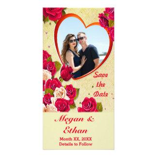 Carte Les roses et le cadre de coeur font gagner la date