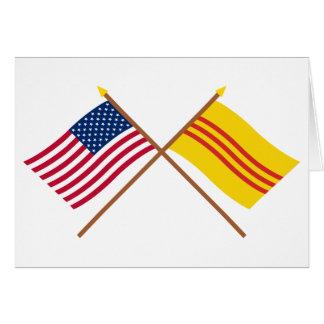 Carte Les USA et drapeaux croisés du Vietnam du Sud