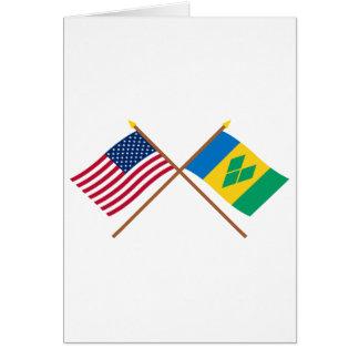 Carte Les USA et drapeaux croisés par Saint Vincent