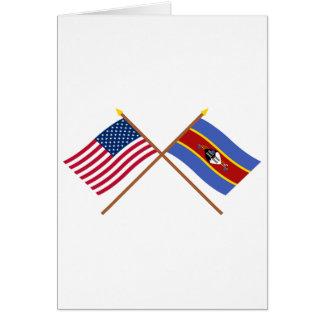 Carte Les USA et drapeaux croisés par Souaziland