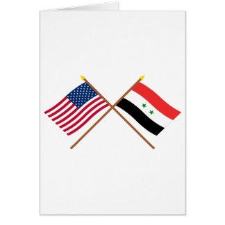 Carte Les USA et drapeaux croisés par Syrie