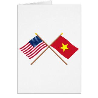 Carte Les USA et drapeaux croisés par Vietnam