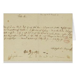 Carte Lettre de Mozart à un franc-maçon, janvier 1786