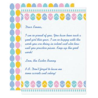 Carte Lettre de vacances du lapin de Pâques