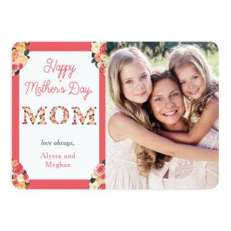 Carte Lettres florales heureuses du jour de mère | avec