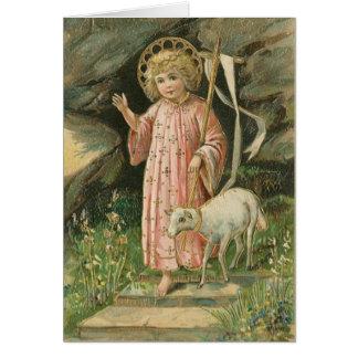 Carte levée religieuse vintage de seigneur Pâques