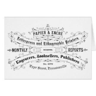 Carte libraires vintages d'annonce de typographie