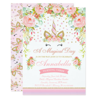 Carte Licorne d'or de rose d'invitation d'anniversaire
