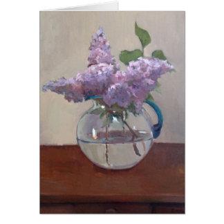 Carte Lilas dans le vase en verre