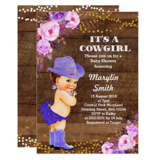 Carte Lilas pourpre rustique de baby shower de cow-girl