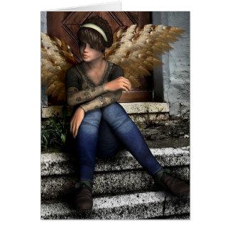 """Carte L'imaginaire gothique d'ange """"pensant à vous"""""""