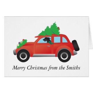Carte Limier écossais conduisant la voiture avec l'arbre