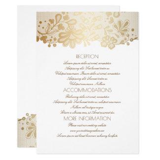Carte L'information blanche élégante de mariage de