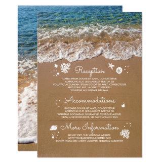 Carte L'information bleue de mariage de plage de vagues