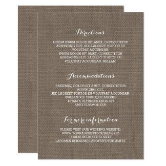 Carte L'information de détails rustique de mariage de