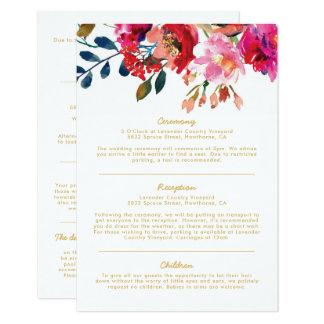 Carte L'information florale élégante de mariage