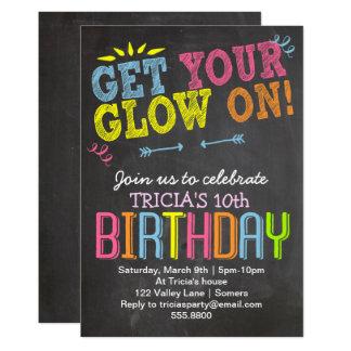 Carte L'invitation d'anniversaire, la craie au néon