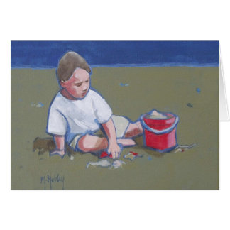 Carte Little Boy et pâté de sable sur la plage