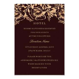 Carte Logement d'hôtel floral de mariage de Bourgogne