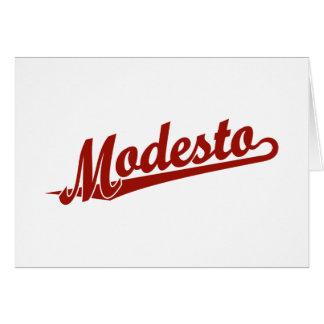 Carte Logo de manuscrit de Modesto en rouge