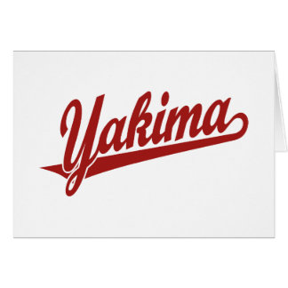 Carte Logo de manuscrit de Yakima en rouge