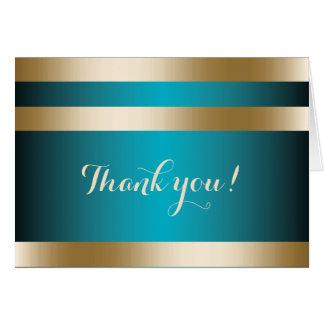 Carte L'or moderne de turquoise barre le Merci