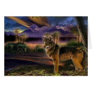 Carte Loup coloré dans la forêt