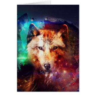 Carte Loup coloré de visage