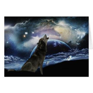 Carte Loup hurlant à la lune