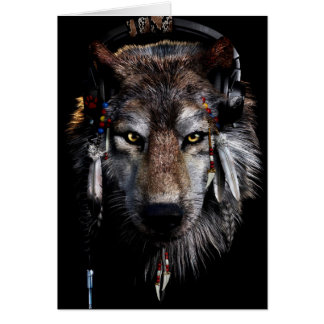 Carte Loup indien - loup gris
